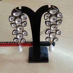 Silver Kundan Earring
