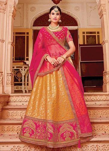 9417befb87b32d Jacquard Silk Semi-Stitched Wedding Wear Designer Lehenga, Rs 3980 ...