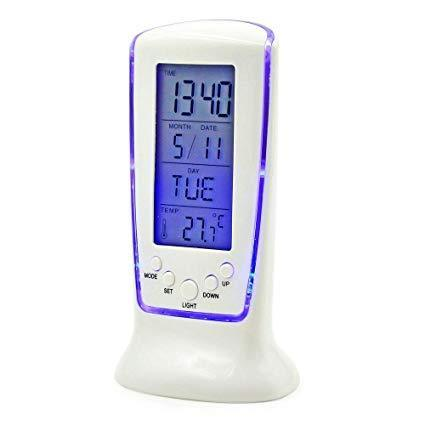 Square Clock 510 LCD Multifunctional Digital Clock Calendar Alarm Thermometer White
