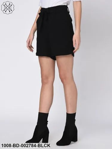 Cotton Black Side Shimmer Tape Front Knot Shorts for Women
