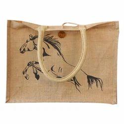 Brown Printed Jute Fancy Bag