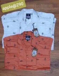 Satin Cotton Mens Full Sleeves Printed Cotton Shirt, Size: 38-42