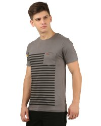 Round Neck Stripes Printed T Shirt With Pocket
