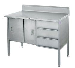 Stainless Steel Polished Parcel Counter Table.