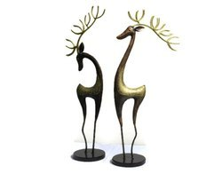 Set Of 2 Deer Home Decor Hand Crafted Iron Sculpture