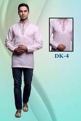 Men Embroidered Short Kurta in Cotton