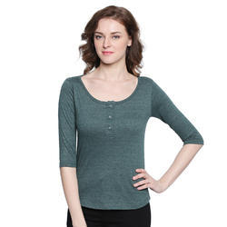 Women 100% Cotton Round Neck Green T-Shirt
