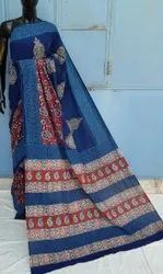 Natural Bagru Hand Block Printed Cotton Saree