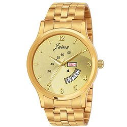 Jainx Golden Day and Date Function Round Analog Watch for Men's JM1131