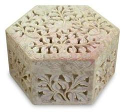 Soap Stone Carved Hexagonal Jewellery Box