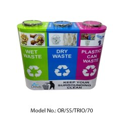 Orchids Stainless Steel Trio Dustbin