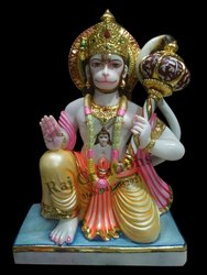 Raj Creations Marble Sitting Hanuman Statue