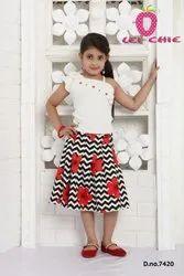 Girl Blossom White Floral Print One Side Cut Solder Dress