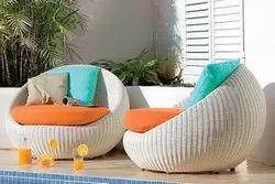 White Rattan Bistro Sofa Chair