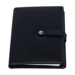 Black Leather Power Bank Diary with Pen Drive, Packaging Type: Yes