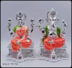 Silver Laxmi Ganesh Statue