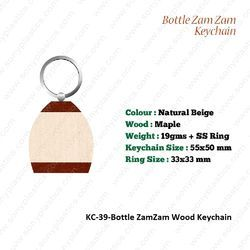 Wooden Key Chain-KC-39-Bottle ZamZam