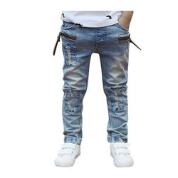 Denim Casual Wear Kids Trendy Jeans, Machine wash