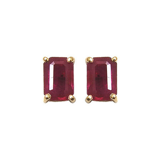 Ruby Octagon Gold Earrings Studs