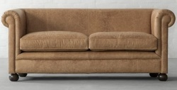 Oxford Chesterfield Two Seater Sofa in Desert Leather