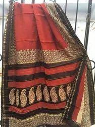 Bagru Natural Colour Block Print Chanderi Saree