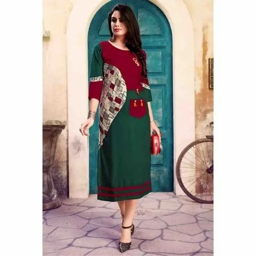 XL Ladies Rayon Printed Kurti