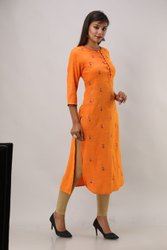 Orange Rayon Embroidered Kurti