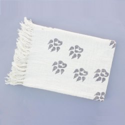 White Base Block Print 100% Cotton Throws