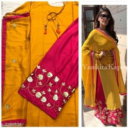 Rayon 3/4th Sleeve Yellow Formal Wear Designer Kurti, Size: Free Size