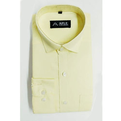 Blended Cotton Formal Wear Mens Light Yellow Plain Shirt, Size: M And XL