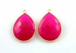 Fuschia Pink Chalcedony Bezel Pear Shape Gemstone Pendant
