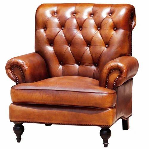 High Back Story Chestnut Leather Armchair