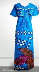 Ethnic Casual Cotton Nighty, Size: Free
