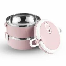 Lilly Twin, 304 Stainless Insulated Lunch Box with Handle and Dual Layer 2 Compartments, 1400 ml