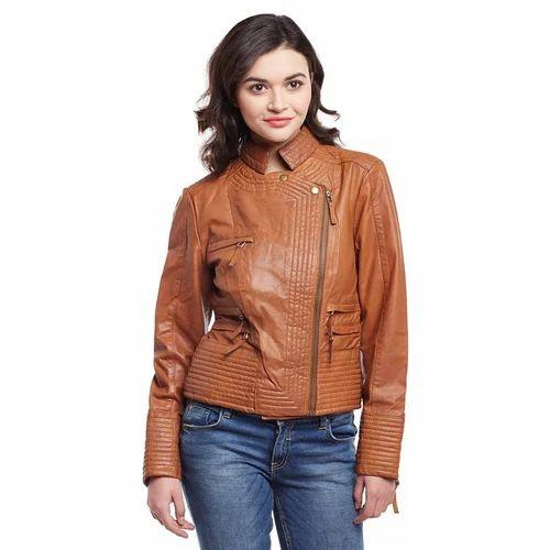 fe660e74c0a65 Zoom Tan Zip Ladies Leather Jacket, Women Leather Jackets, Womens ...