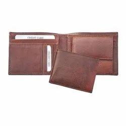 Mens Brown Bi Fold Leather Wallet, Card Slots: 5
