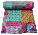 Multi Printed Kantha Bedspread