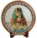 Decorative Marble Ragini Painting Plate With Stand
