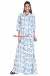 Hand Block Printed Ladies Long Bottom Dress