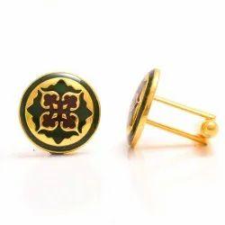925 Silver Designer Mughal Motif Cufflinks With Green & Marron Enamel
