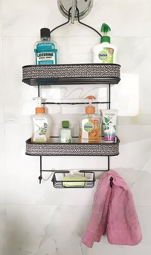 10 X 4 X 22 Black Bathroom Shower Caddy Shelves Hanging