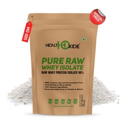 Healthoxide Pure Raw Whey Protein Isolate 90% 500 g, Packaging Type: Pouch