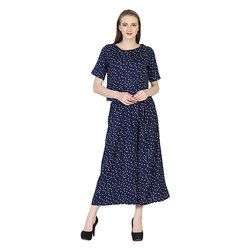 Silk Party Wear Kripa Collection Blue Dotted Palazzo Top Set