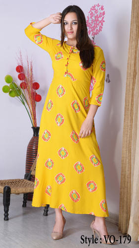 Vedika Overseas Yellow Straight Rayon Printed Long Dress e029ef70a