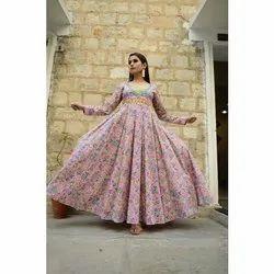 Ladies Multi Color Printed Gown