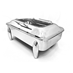 Rect Full Glass Lid Hydraulic Chafer with Cucumber Legs