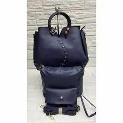 Ladies Casual Wear Plain Royal Blue Hand Bag