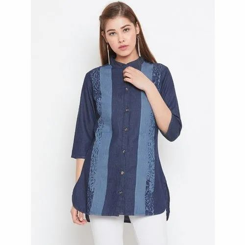 Neon Sky Casual Ladies Fancy 3/4th Sleeve Denim Top, Size: S To XXL