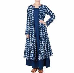 Party Wear Western Wear Organic Indigo Printed Dress, Packaging Type: Carton