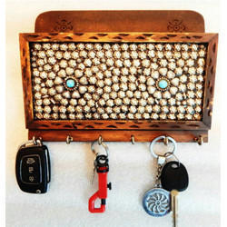 Rectangular Wooden Wall Hanging Key Holder